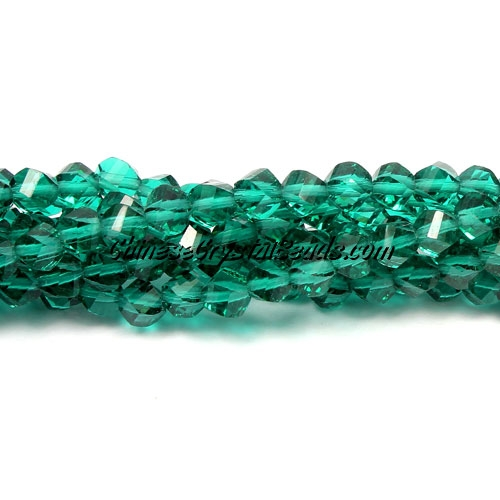Crystal Helix Beads Strand, 4mm, emerald, about 100 beads, 15 inch