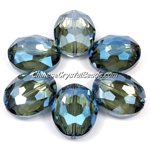 Chinese Crystal Faceted Oval pendant, light blue, 20x24mm, 1 beads