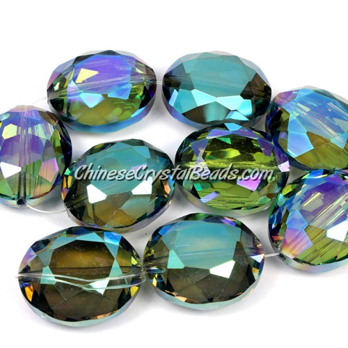 Chinese Crystal Faceted Oval pendant, light green, 20x24mm, 1 beads