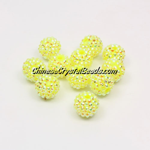 Resin disco beads, yellow AB, 10mm, 10 pcs bag