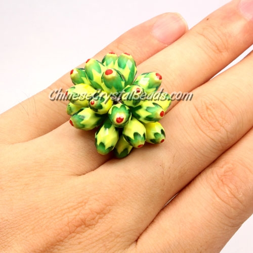 Handmade crystal flower ring, 3D Beading ,new color 3, Pave type, Sold individually.