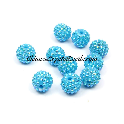 Resin disco beads, dark aqua AB, 10mm, 10 pcs bag