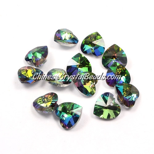 10mm crystal heart pendant, hole 1.5mm, rainbow, sold 10pcs per bag