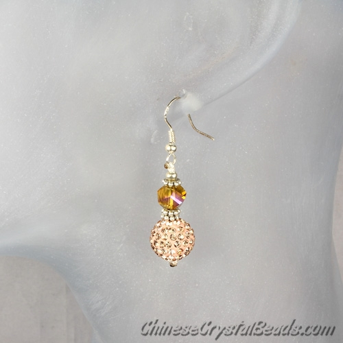 crystal earring, Pave earring, 12mm clay disco beads, sold 1pair.