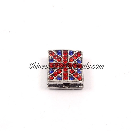 Pave square beads, UK Flag, 12mm, silver, sold per 12 pieces bag