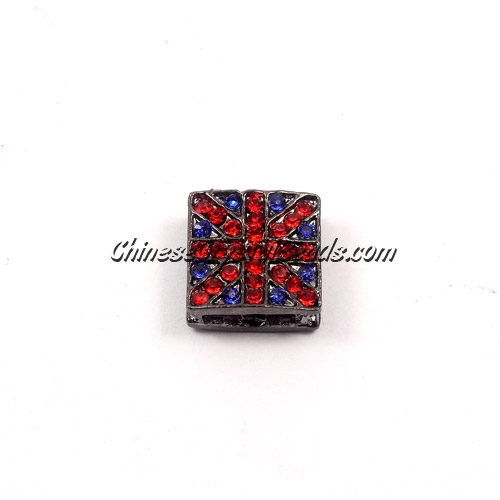 Pave square beads, UK Flag, 12mm, gun metal, sold per 12 pieces bag