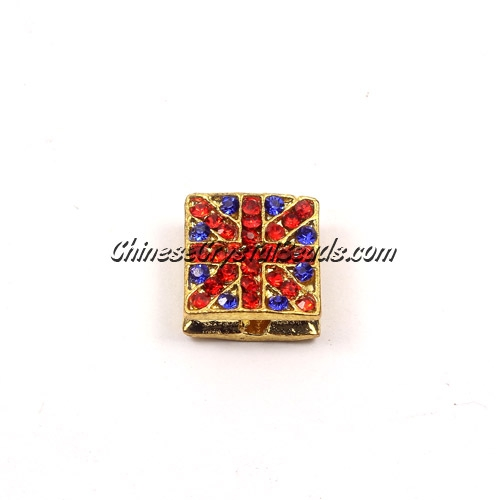 Pave square beads, UK Flag, 12mm, gold, sold per 12 pieces bag