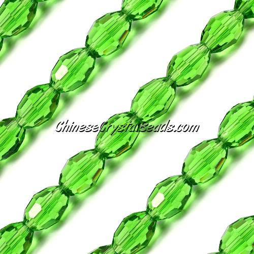 Chinese Crystal Faceted Barrel Strand, fern green, 10x13mm, 20 beads