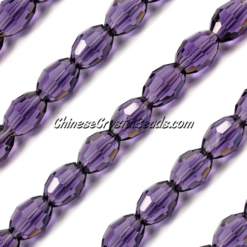 Chinese Crystal Faceted Barrel Strand, violet, 10x13mm, 20 beads