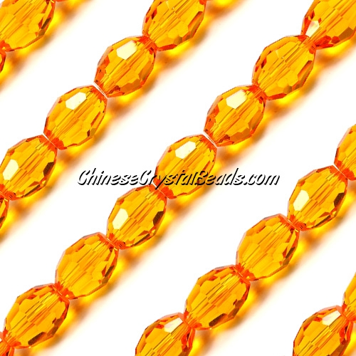 Chinese Crystal Faceted Barrel Strand, Sun, 10x13mm, 20 beads