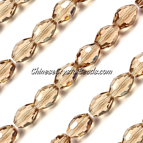 Chinese Crystal Faceted Barrel Strand, S.Champagne, 10x13mm, 20 beads