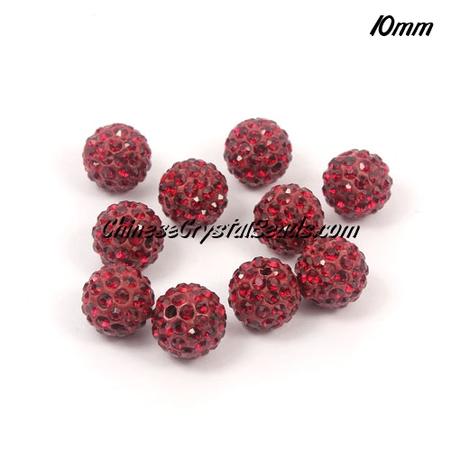 50pcs 10mm Pave clay disco beads, hole: 1.5mm, red