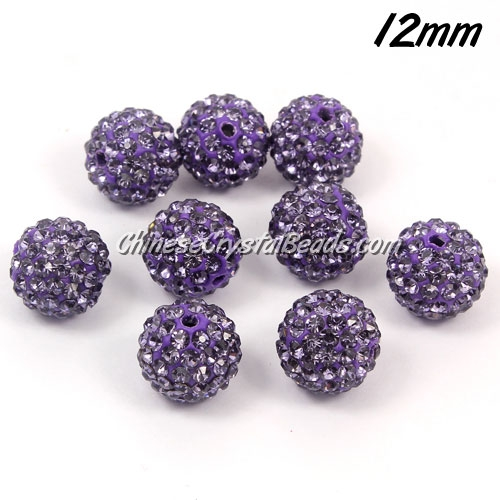 50pcs, 12mm Pave beads, hole: 1.5mm, clay disco beads, tanzanite