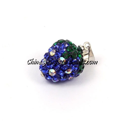 Pave Disco strawberry Pendant, sapphire, clay, crystal Rhinestone, 12x14mm, sold 1 pcs