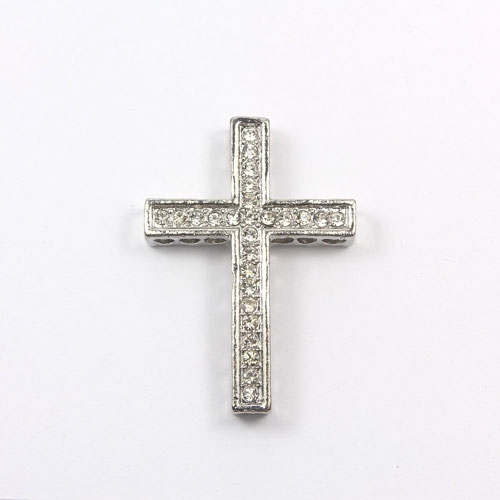 pave alloy cross, platinum plated, 27x38mm, hole: 1.5mm, 1pcs