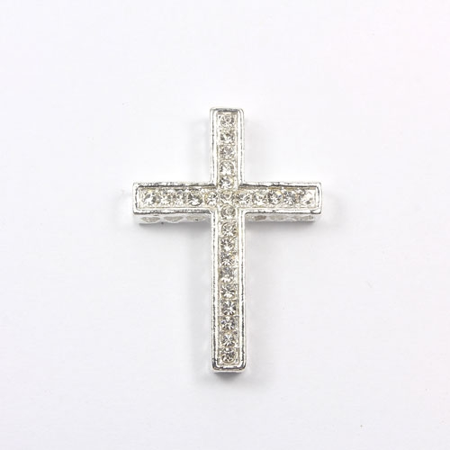 pave alloy cross, silver plated, 27x38mm, hole: 1.5mm, 1 pcs
