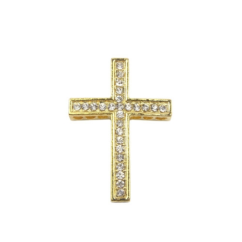 pave alloy cross, gold, 27x38mm, Pave