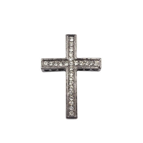 alloy pave cross, gun-metal, 27x38mm, hole: 1.5mm, 1 piece