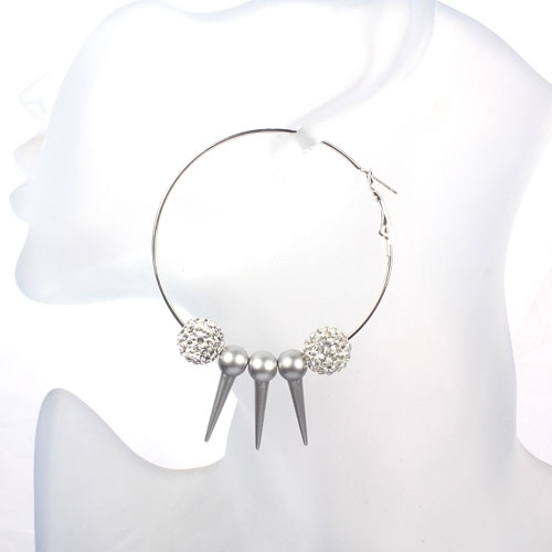 Basketball Wives Earrings 2.3' , silver, octopus, sold 1 pair