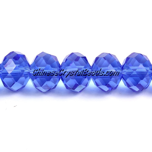 Chinese Crystal Rondelle Strand, 9x12mm, Med. Sapphire, about 36 beads