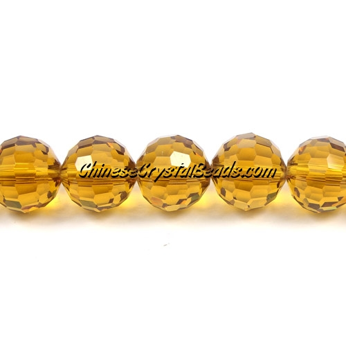 Crystal Disco Round Beads, amber, 96fa, 12mm, 16 beads