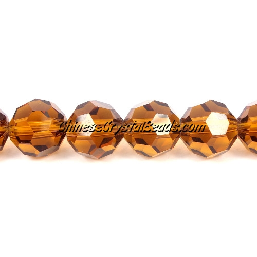 Crystal Disco Round Beads, smoker topaz, 32fa, 12mm, 16 beads