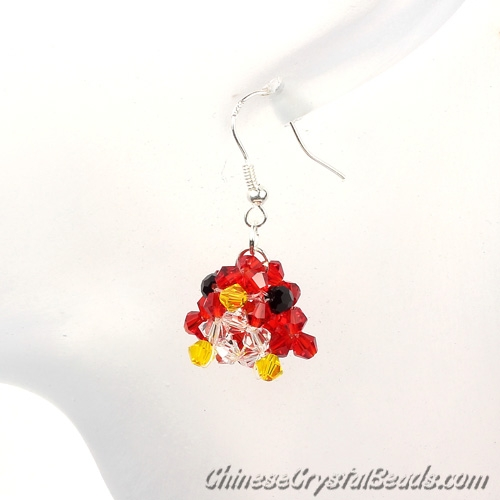 crystal earring, 3d beading bird, red, sold 1 pair