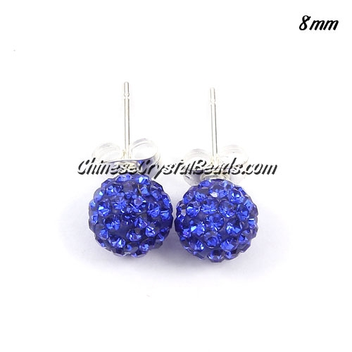 Pave earring, disco ball earring, 8mm, navy blue, sold 1 pair