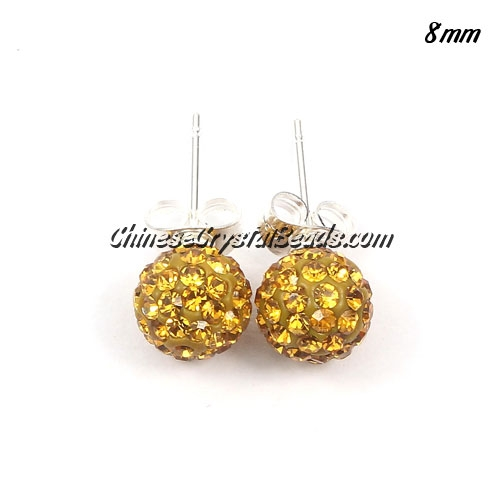 Pave earring, disco ball earring, 8mm, amber, sold 1 pair