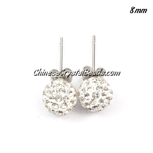 Pave earring, disco ball earring, 8mm, white, sold 1 pair