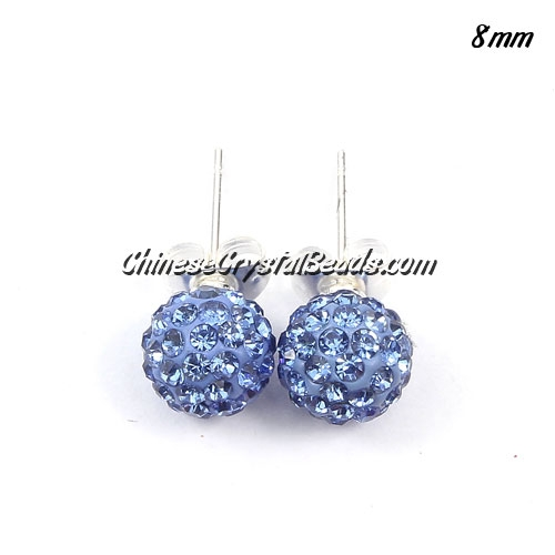 Pave earring, disco ball earring, 8mm, ligth sapphire, sold 1 pair