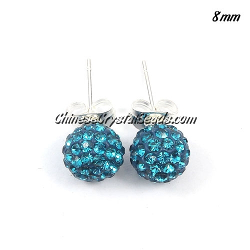 Pave earring, disco ball earring, 8mm, indicolite, sold 1 pair