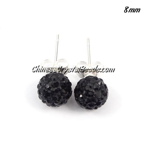 Pave earring, disco ball earring, 8mm, black, sold 1 pair