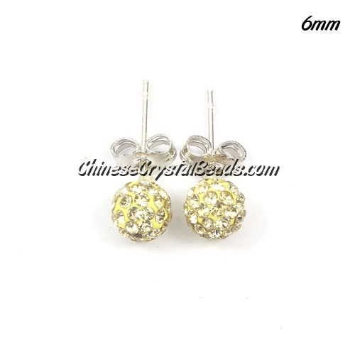 Pave earring, disco ball earring, 6mm, light yellow, sold 1 pair