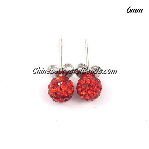 Pave earring, disco ball earring, 6mm, red, sold 1 pair