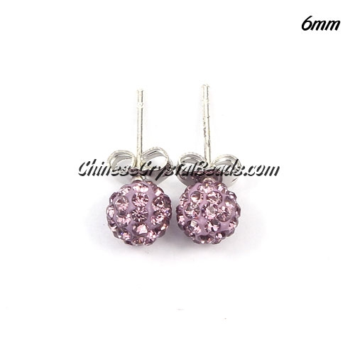 Pave earring, disco ball earring, 6mm, purple, sold 1 pair