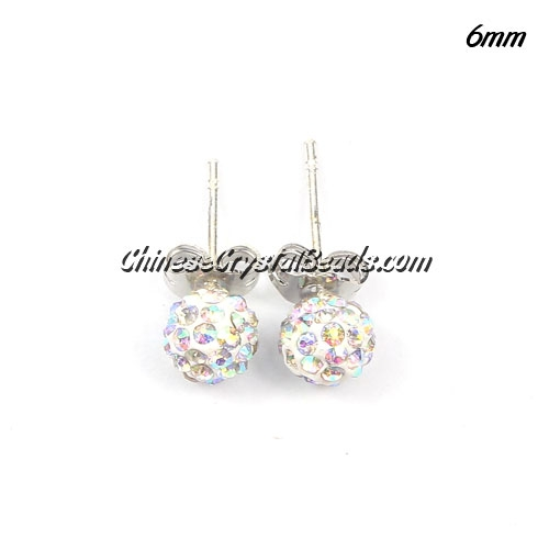 Pave earring, disco ball earring, 6mm, white AB, sold 1 pair