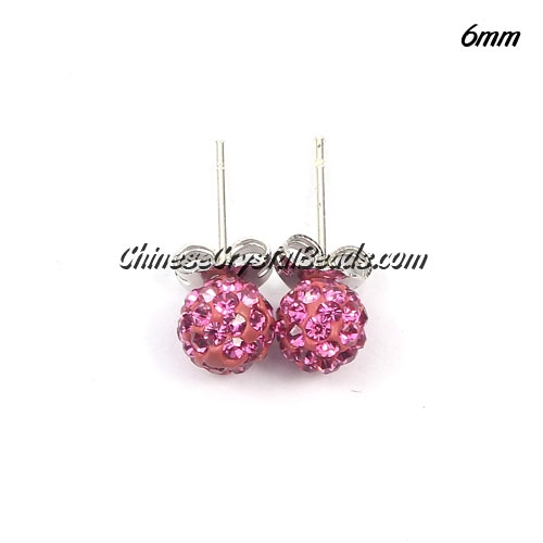 Pave earring, disco ball earring, 6mm, pink, sold 1 pair