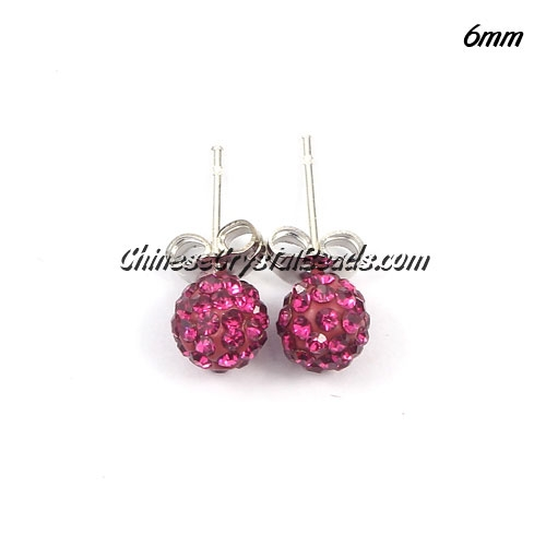 Pave earring, disco ball earring, 6mm, fuchsia, sold 1 pair