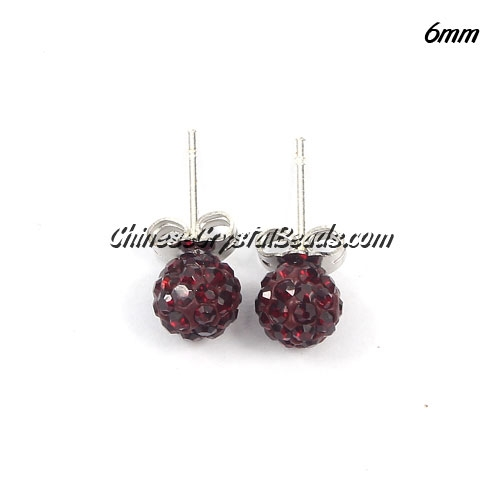 Pave earring, disco ball earring, 6mm, dark red, sold 1 pair