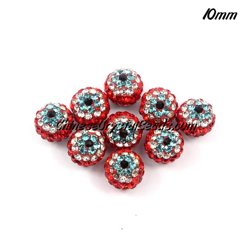 evil eye disco beads, clay , 10mm, hole: 1.5mm, 10pcs bag, #009