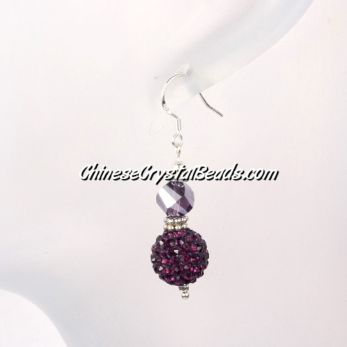 disco earring, Pave earring, #030, violet, sold 1 pair
