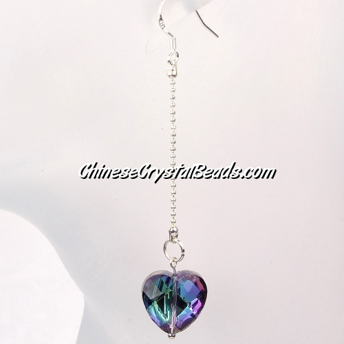 crystal earring, 14mm heart, sold 1pair