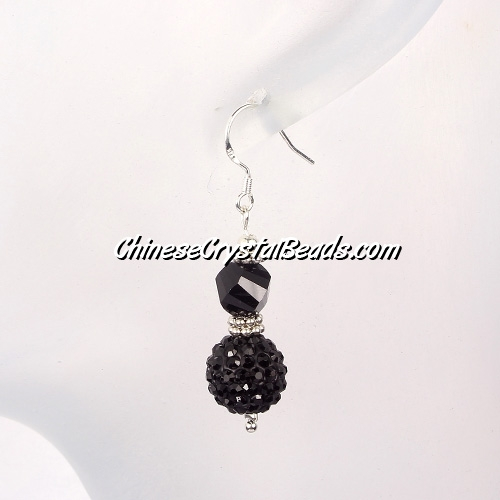 disco earring, Pave earring, #033, black, sold 1 pair