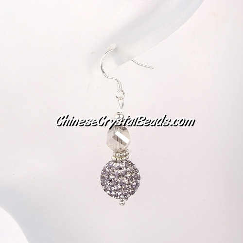 disco earring, Pave earring, gray, #034, sold 1 pair