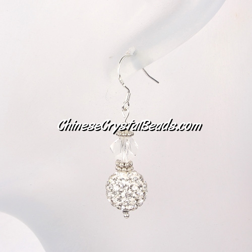 disco earring, Pave earring, white, #035, sold 1 pair