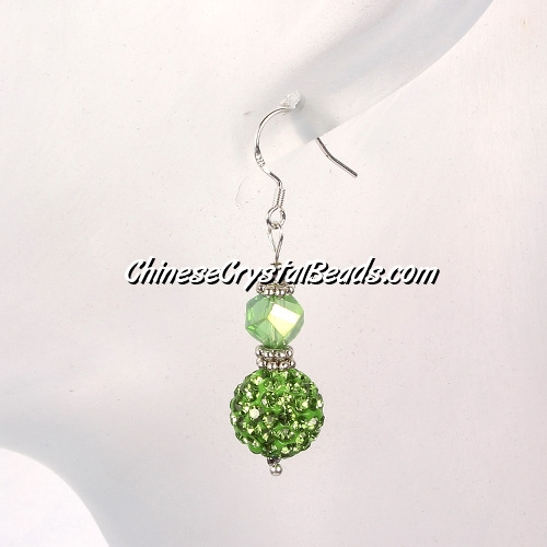 disco earring, Pave earring, green, #036, sold 1 pair