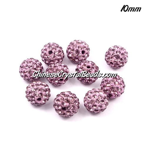 50pcs 10mm Pave disco beads, pave clay beads,1.5mm hole, med puple