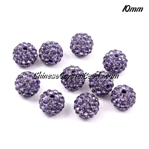 50pcs 10pcs pave (clay) disco beads, hip hop disco beads, tanzanite, hole: 1.5mm