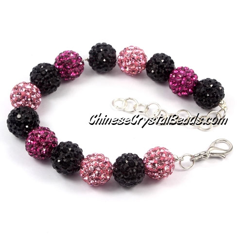 Disco Ball Bracelets, 14pcs, small bead chain, Clasp, lobster claw, black/fuchsia/pink